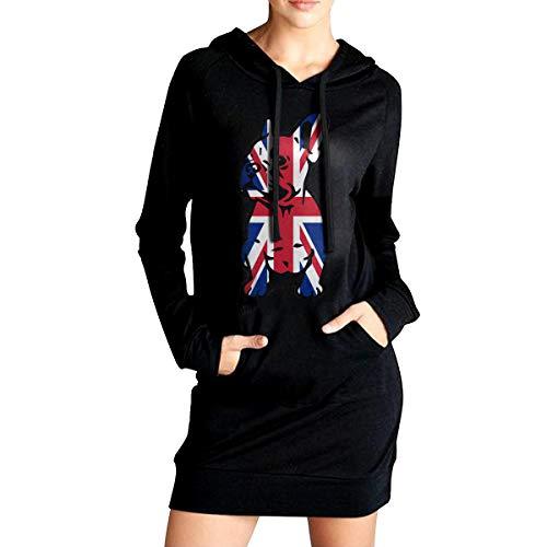 ADA&KGH Women's Slim Fit Fleece Long Hoodie Dress, British Flag Bulldog Coat with ()