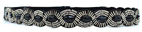 Style & Co. Womens Tonal Skinny Bead Stretch Belt, Large (Black Beaded Belt)
