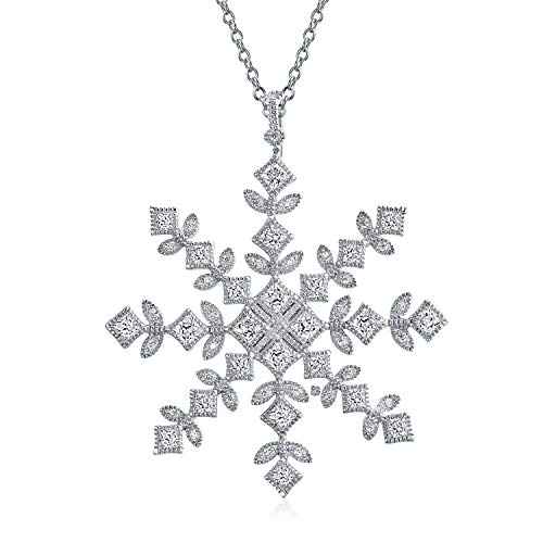 Vintage Style Cubic Zirconia CZ Holiday Winter Christmas Large Snowflake Pendant Necklace For Women 925 Sterling Silver