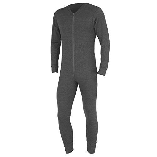 - Floso Mens Thermal Underwear All in One Union Suit (Chest: 36-38 inch (Medium)) (Charcoal)