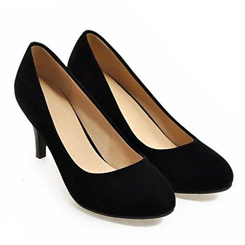 COOLCEPT Zapato Mujer Simple Tacon de Aguja Sin Cordones Tacon Ancho medio Court Zapatos Negro