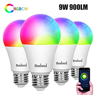 Smart WiFi Light Bulbs,Works with Alexa,Google Home Compatible,9W 900lm(80W Equivalent),No Hub Required,2.4G WiFi Only,Dimmable,RGBCW Color Changing,2700K-6500K,A19 E26 Base,4Pack by Boxlood