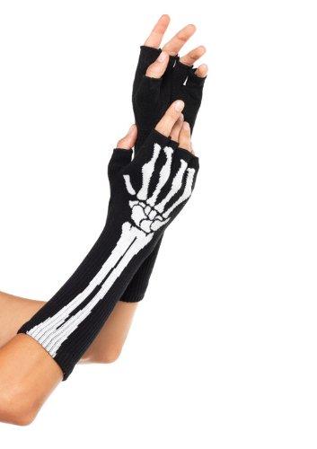 [Leg Avenue Women's Skeleton Fingerless Gloves, Black, One Size] (Womens Skeleton Halloween Costumes)