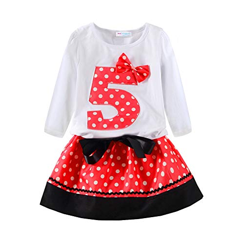 Mud Kingdom 5th Birthday Girl Outfit I Am Five Gift Red Long - Gift Five