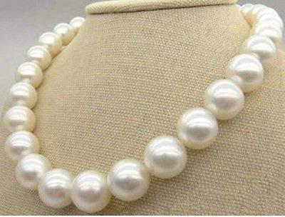 FidgetFidget Huge 18'' 14MM Natural South SEA Genuine White Pearl Necklace 14K Perfect Round
