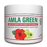 Organic AMLA GREEN Tea Powder – Great Tasting, 20x Concentrated Amla + Oolong Tea Antioxidant Blend – Raw, Vegan, Organic, Non-GMO, Amla Powder (30 Servings, Hibiscus)
