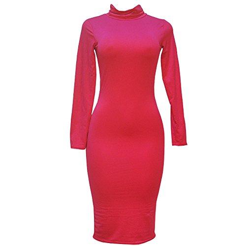 振る舞う等しい食べるKINDOYO 女性の長袖のタイトフィットのドレス高襟ソリッドカラーミニスカート美しさのラインの綿の綿 (ローズレッド, XL)