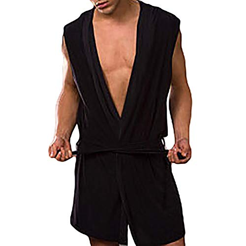 dezirZJjx Men's Sexy Bathrobe, Fashion Sleeveless Hooded Men's Spring Summer Bathrobe Sleepwear Nightgown Robe Black XL