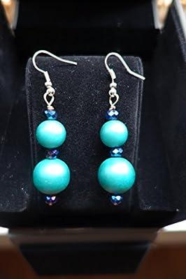 Acrylic Blue Bead Earrnings