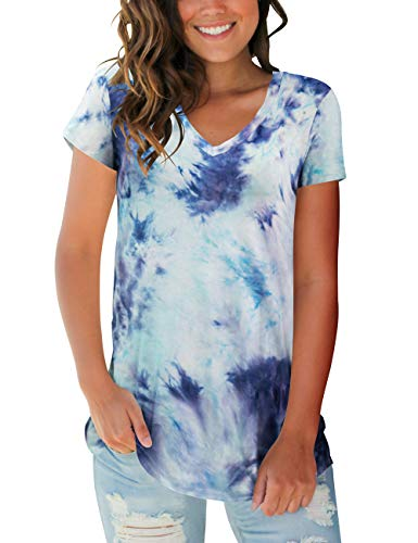 Womens Short Sleeve Tops V Neck Tie Dye Tee Shirts
