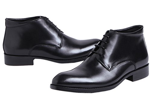 Up Leather by Oxfords Ankle Mens Lace Black Boots Casual Boots Santimon Dress xIXqAqwFR