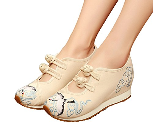 Avacostume Femmes Grue Broderie Coin Talon Mode Casual Baskets Ivoire