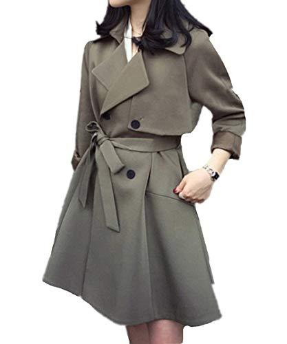 Inclusa Tasche Vento Bavero Coat Donna Armgrün Double Confortevole Giacca Breasted Invernali Abbigliamento Outwear Cintura Manica Laterali Lunga Trench Eleganti Targogo w7pZfnCqx