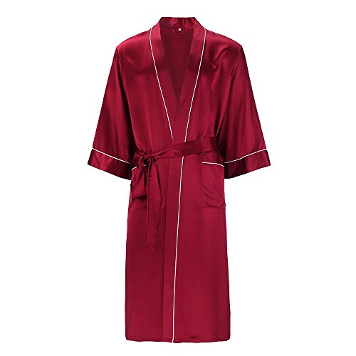 e1a67887eaf LilySilk Men Silk Robe Long Kimono Style Half Sleeve Loose Pure ...