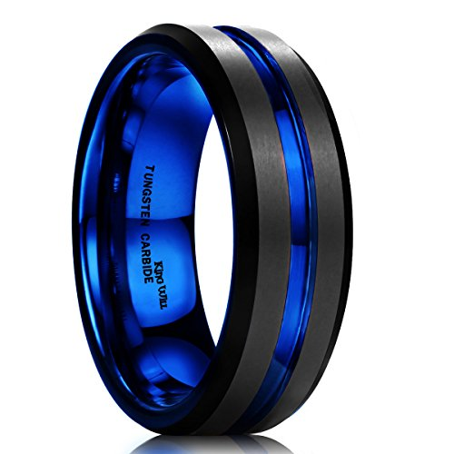 7mm Black Tungsten Band Rings - King Will DUO Mens 7mm Black Matte Finish Tungsten Carbide Ring Blue Beveled Edge Wedding Band(12)