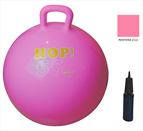 SUESPORT Hopper Ball Kit,Pump Included, Hop Ball, Kangaroo Bouncer, Hoppity Hop, Sit and Bounce, Jumping Ball, 22in/55cm, Light Pink by SueSport