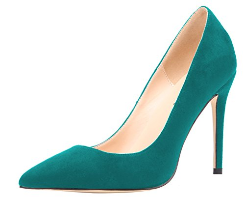 AOOAR Womens Heeled Slip On Pointy Dress Pumps Shoes Atrovirens Suede 1kgVhSG