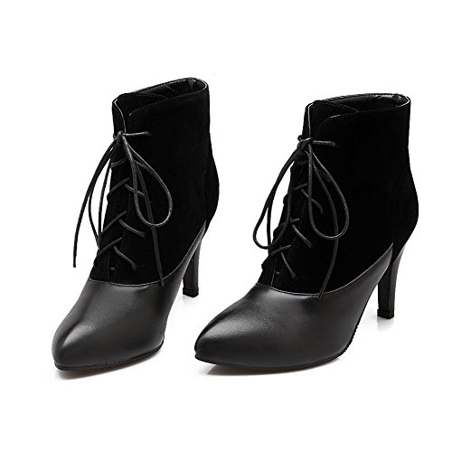 Blend Toe Women's Allhqfashion Boots Materials High Closed Heels Black top Low Pointed Solid Apxz4