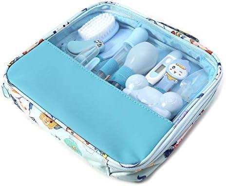 Manyo 13pcs kits de higiene bebe - kit del cepillo del cuidado del termómetro del cuidado de la salud del clavo,Azul Rosa (Azul)