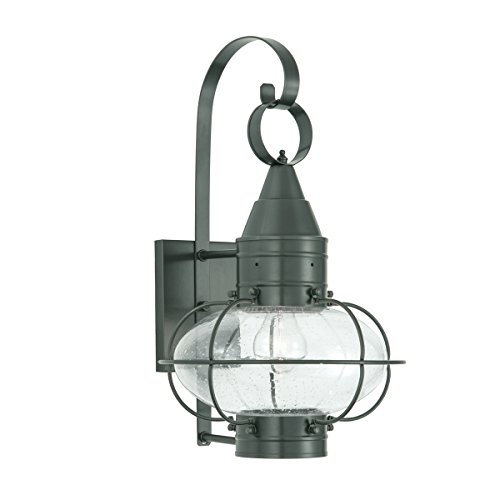 Norwell Lighting 1513 Small Outdoor One Light Classic Onion Wall Mount (Gun Metal w/Seedy Glass)