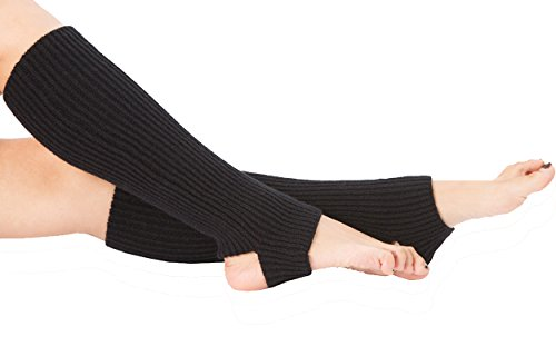 Dance Knee High Socks - Women Stirrup Leg Warmers Boot Cuffs Socks Knee High Length Crochet for Dance Yoga Black