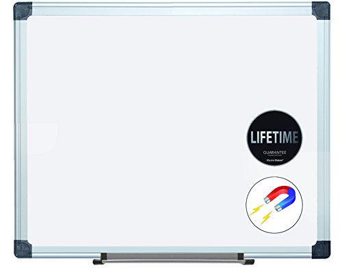 MasterVision Super Value Maya Porcelain Dry Erase Board, 2' x 3', Aluminum Frame, White (CR0601170MV)
