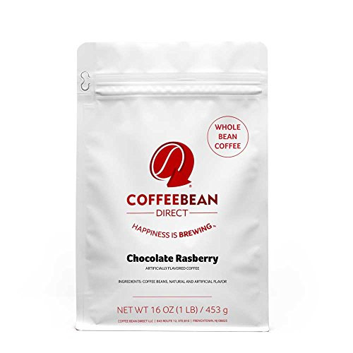 Coffee Bean Direct Chocolate Raspberry Flavored, Whole Bean Coffee, 16-Ounce Bags (Pack of 3) ()