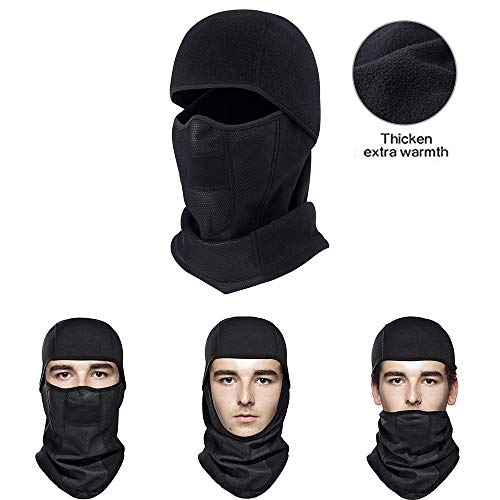 MICOK Balaclava Ski Face Mask, Windproof Warm Hood Winter Face Masks, Thicker Fleece Fabric &Ultimate Thermal Retention Motorcycle Face Mask for Skiing, Snowboarding, Motorcycling, Winter Sports