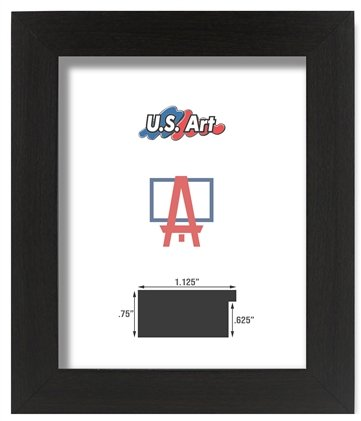 Georgia Art Glass (US Art Frames 18 by 24-Inch Picture Frame, Smooth Wrap Finish, 1.125-Inch Wide Flat, Black, Solid Poplar Hardwood)