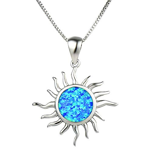 OMZBM Created 925 Sterling Silver Round Blue/White Fire Opal Pendant Necklace,Charm Hypoallergenic Simulated Gemstone Sun Dangle Clavicle Chain Birthstone Gift,Blue - Fire Opal Crystal