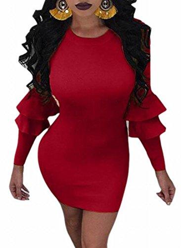 Crewneck Bodycon Wine Long Sleeve Ruffle Jaycargogo Red Womens Cocktail Dress Bodycon 5wqAZnaH