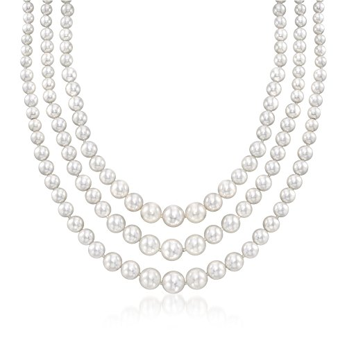 Ross-Simons 6-12mm Shell Pearl Graduated Three-Strand Necklace in Sterling Silver (9mm Strands 3)