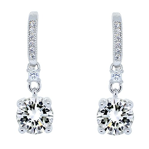 Cate & Chloe Valerie Pride 18k White Gold Plated Round Cut Drop Earrings w/Cubic Zirconia Crytals, Women's White Gold Plated Earrings, Dangle Earring for Women Wedding Anniversary Jewelry - MSRP $150 from Cate & Chloe