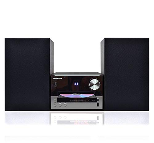 Toshiba TY-ASW91 Micro Component Speaker System: Wireless Bluetooth Speaker Sound System with FM, USB & CD, AUX Input, LED Display and  Remote Control ()