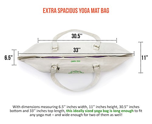 ANAHATA Extra Large Tote Yoga Mat Bag By Chakra Yoga – 100% Cotton, 4 Magnetic Snaps ,Two Zippered Pockets – For All Yoga Practitioners, Men & Women