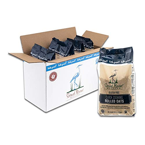 Great River Milling, Quick Cooking Rolled Oats, Gluten Free, Non-Organic, 32 Ounces (Pack of 4)