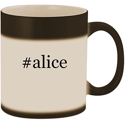 #alice - 11oz Ceramic Color Changing Heat Sensitive Coffee Mug Cup, Matte Black -