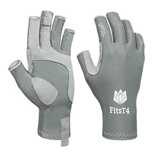 FitsT4 Fingerless Fishing Gloves UPF50+ Sun Gloves UV Protection Gloves for Outdoor, Kayaking, Hiking, Paddling, Driving, Rowing for Men Women Gray L