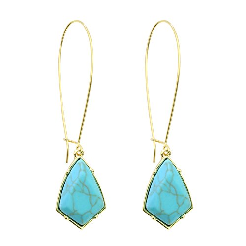 Rugewelry 18k Gold Plated Turquoise Earrings Dangle Drop Earrings For Women,Girls' Gifts