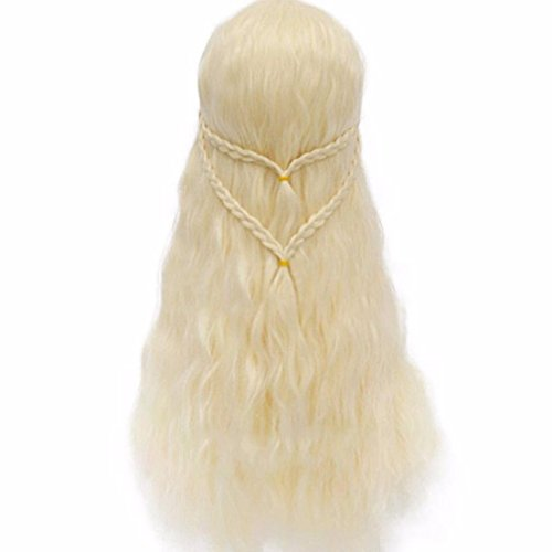 Long Curly Wig Hair, Luversco Daenerys Targaryen Wig Hair Women Masquerade Cosplay Full Wigs, Europe And The United States Fake Hair Grading Long Curly Hair Roses Wigs (Light Gold) (Light Grading)