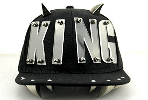 KitMax (TM) Fashion Unisex Personalized Punk Rivets King Decor Hip Hop Outdoor Sport Baseball Snapback Sun Caps Hats