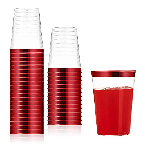 100 Count 10oz Disposable Clear Cup-Red Trim Cup/Old Fashioned Tumblers/Plastic Wedding Cups/Fancy Party Cups ()