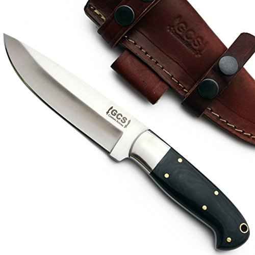 Cheap GCS Custom Handmade BLACK MICARTA Handle D2 Tool Steel Knife & Buffalo Hide Sheath GCS201