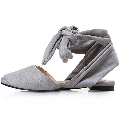 COOLCEPT Mujer Moda Cordones Sandalias Plano Cerrado Slingback Zapatos Tamano Gris