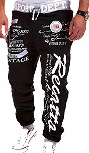 Jeansian Pantalones Hombres Holgados Deporte Jogger S376 Black Long amp;gray Jogger Sport Men Baggy Pants Largos RxRrq4w