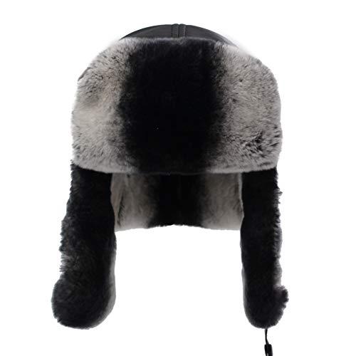 (Sandy Ting Men's Sheepskin Leather Aviator Russian Ushanka Trapper Winter Rex Rabbit Fur Hat)