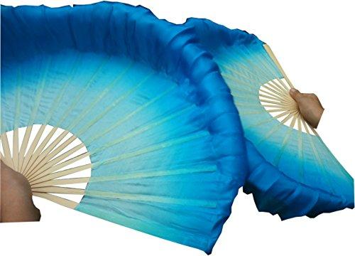 (Winged Sirenny 1pair (1R+1L=2PCS) Chinese Short Silk Dance Fan, 30cm (12