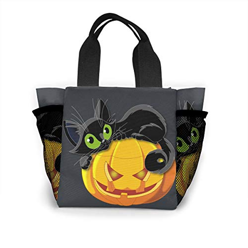 Ailigrfel Lunch Bag Tote Bag Lunch Organizer Lunch Holder Lunch Container -Halloween Cat -