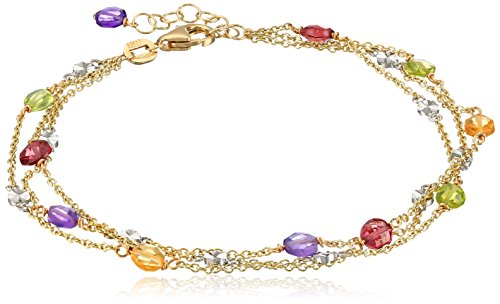 14k Two-Tone Italian Multi-Strand with Citrine, Peridot, Garnet and Amethyst Bracelet, 7'' + 1.5''  Extender by Amazon Collection