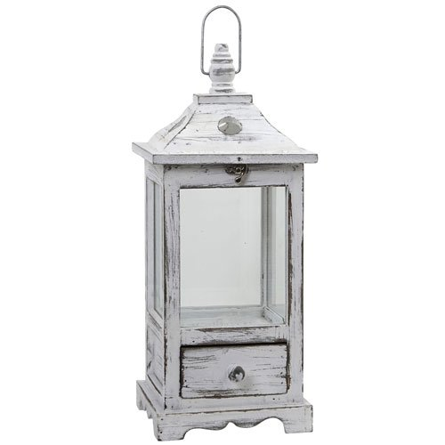 Nearly Natural 7017 Distressed Wooden Lantern with Drawer (White Wooden Lanterns Decorative)